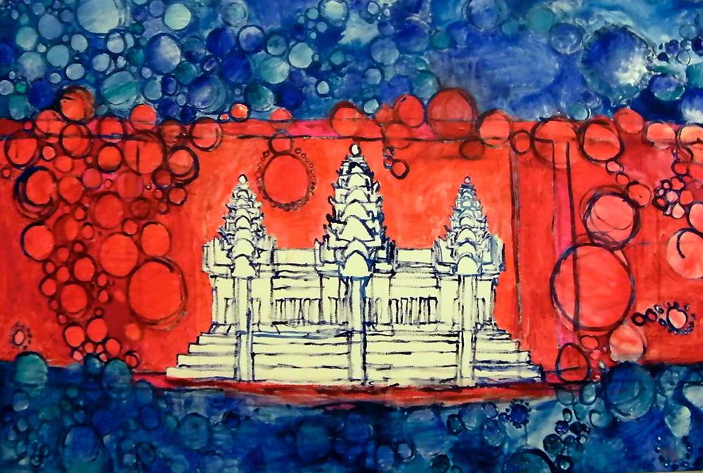 Ariel Shallit painting of Cambodia #1