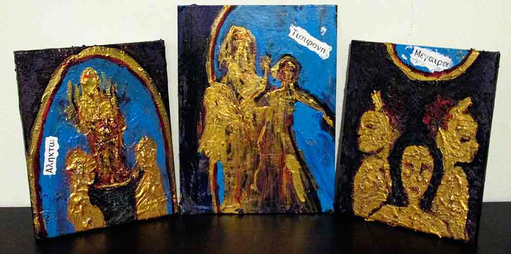 Ariel Shallit painting of The Furies (Triptych)
