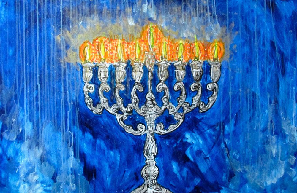 Ariel Shallit painting of Hanukkah 5774 #2