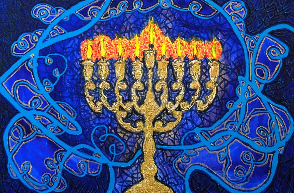 Ariel Shallit painting of Hanukkah 5774 #4