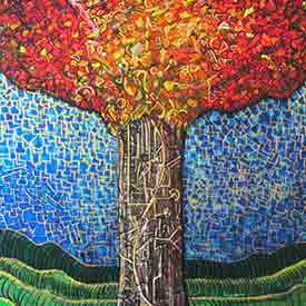 Ariel Shallit painting of Home - Zev's Tree #2