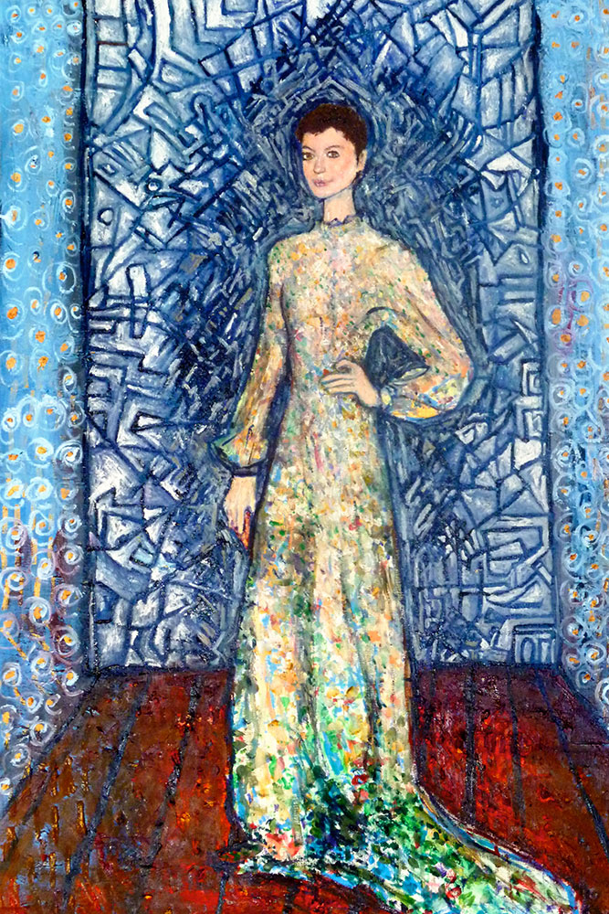 Ariel Shallit painting of Anne Hathaway wears Valentino