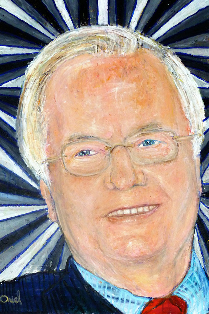 Ariel Shallit painting of Bill Moyers