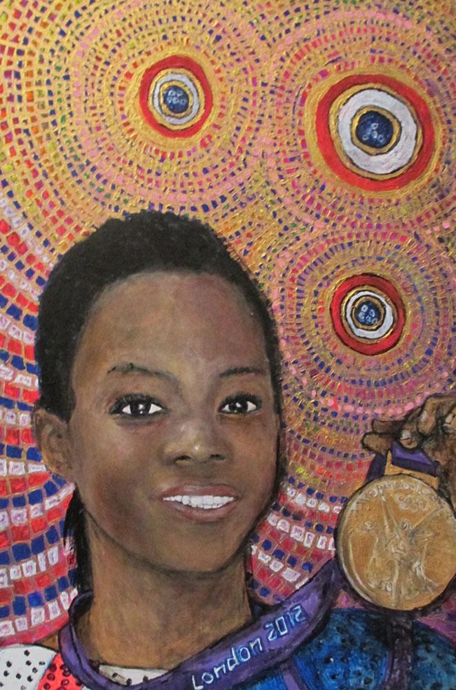 Ariel Shallit painting of Gabrielle Douglas