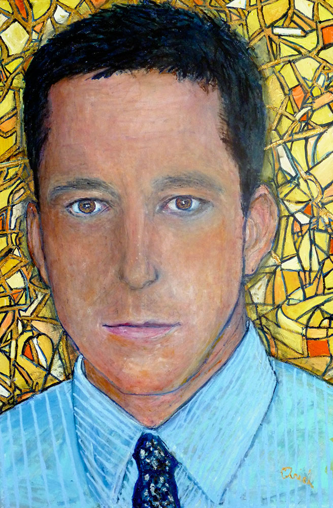 Ariel Shallit painting of Glenn Greenwald