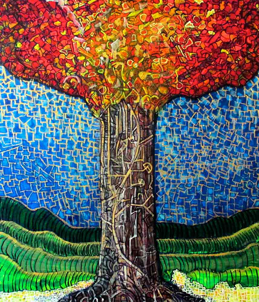 Ariel Shallit painting of Zev's Tree #2